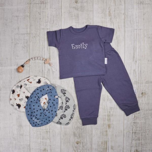 Coffret coloré - T-shirt, chaîne à lolette et bavoirs, bleu marine