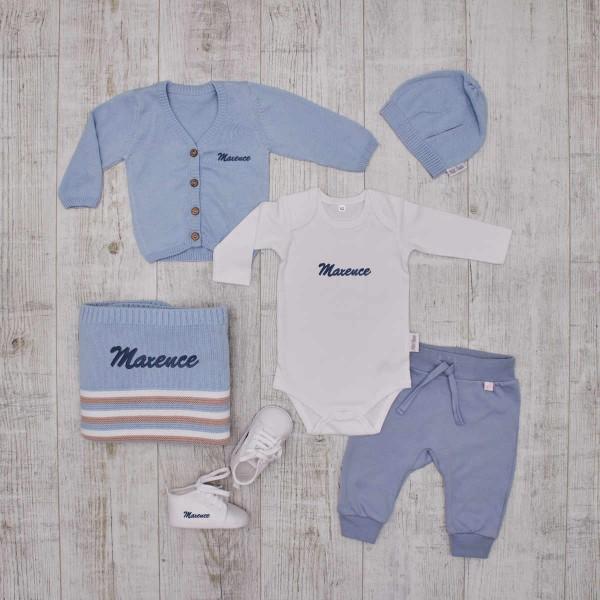 Komplettes Baby-Set, Kleidung, Decke & Schuhe, Blau & Weiss