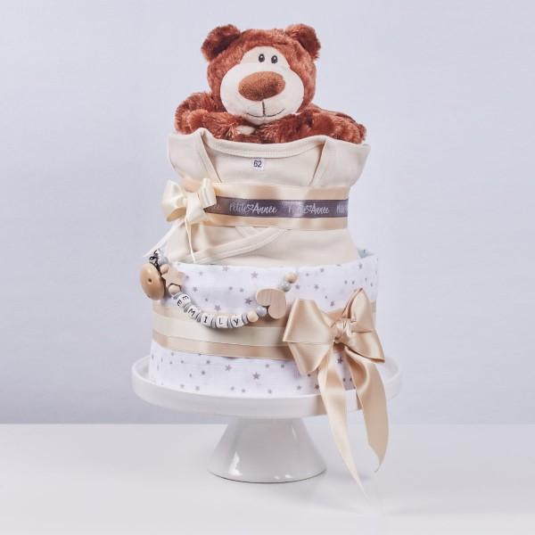 "Diaper Cake Medium, ""Essentials"" with bear comforter, ivory"