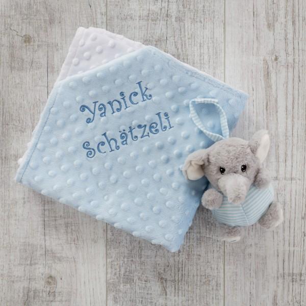 Carillon & couverture minky, éléphant et bleu