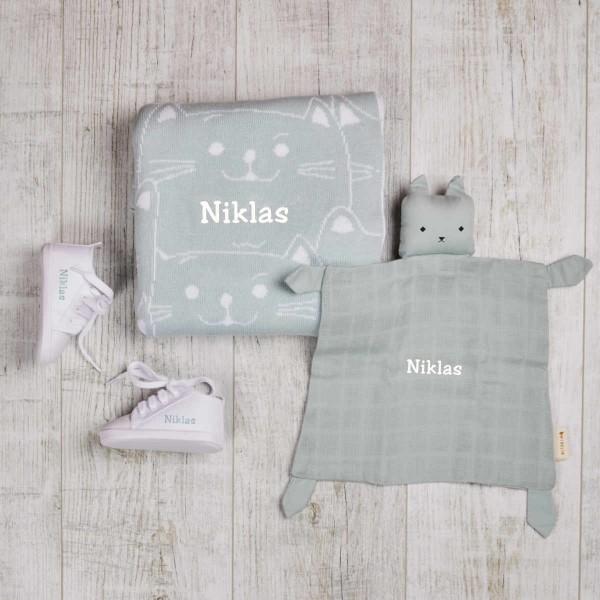 Kätzchen Strickdecke & Schmusetuch mit Schuhe Set, Mint