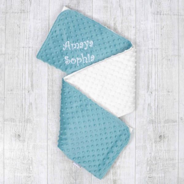 Zweifarbige Minky Decke, Ozeanblau