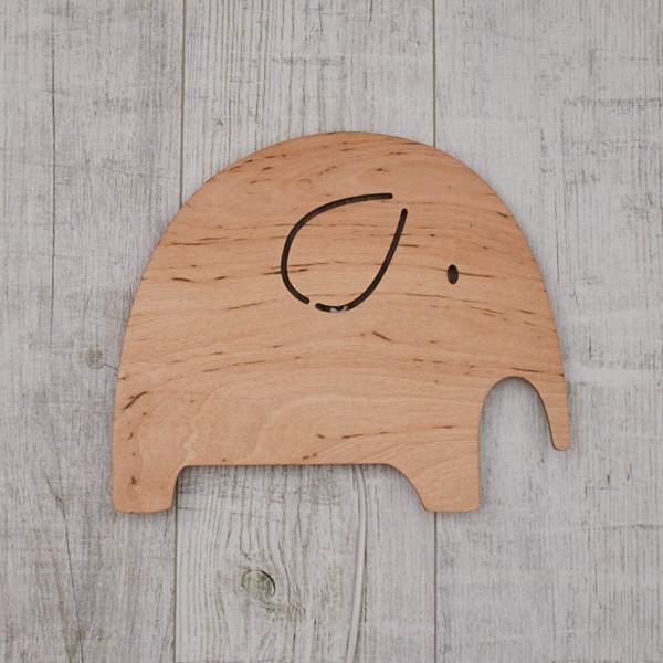 Applique Eléphant en bois Naturel
