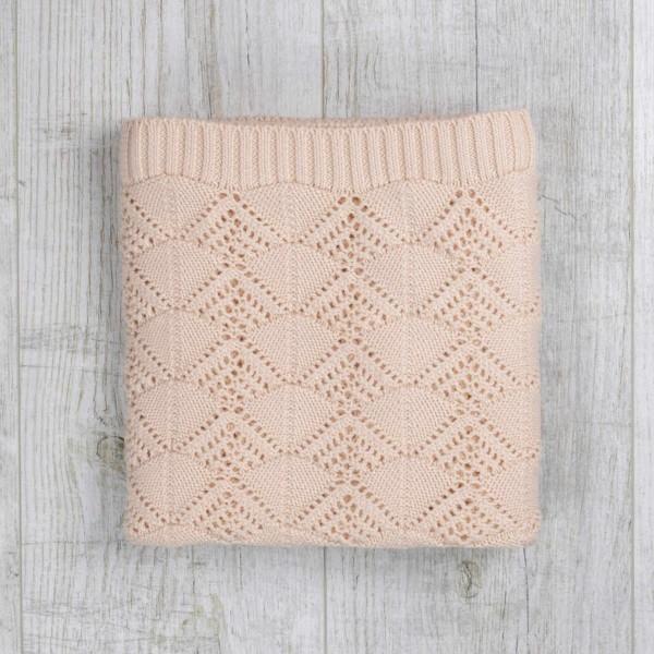 Couverture vintage, tricotée, écru
