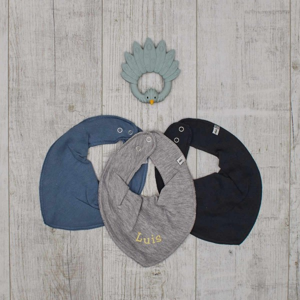 3 Halstücher & Beissspielzeug Set - Pfau grau, Hellblau