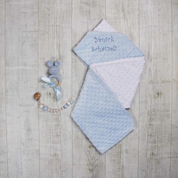 Set - Blanket, dummy chain & teething toy 'rabbit', Blue