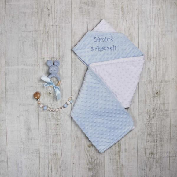 Set aus Decke, Nuggikette und Rassel Hase, Blau