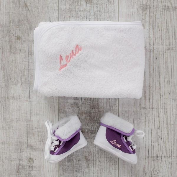 Babywinterstiefel & Decke - Lila