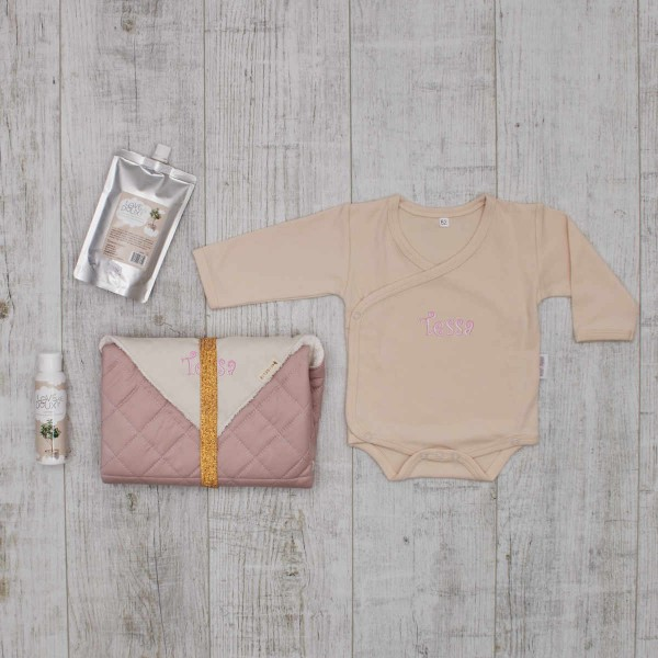 """Change baby on the way"" set, Fabelab & Love me Doux, pink"