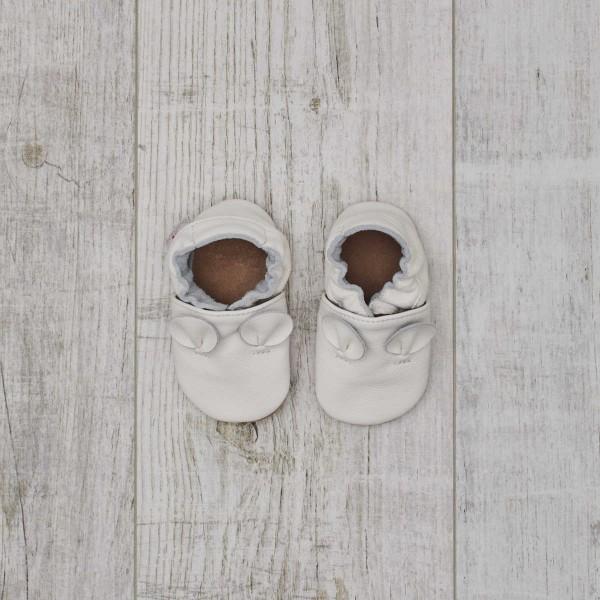 Chaussons en cuir, blanc - Oreilles de souris