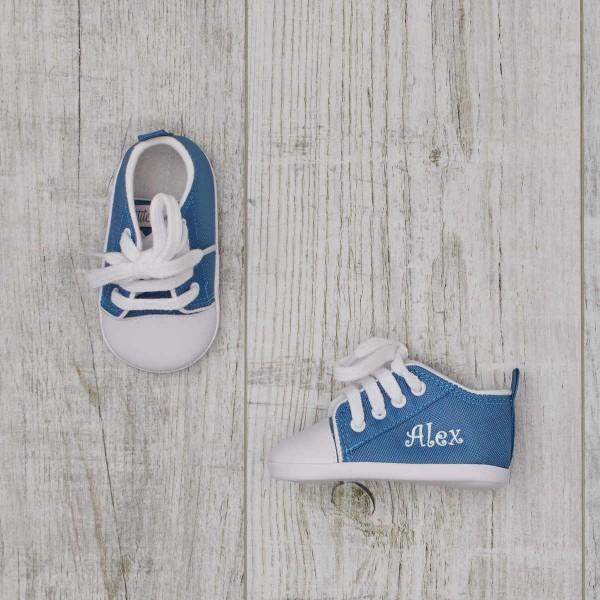 Chaussures bébé, bleu azur
