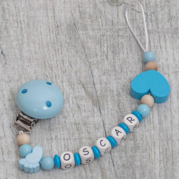 Nuggikette aus Holz mit Füsschen und Herz, blau
