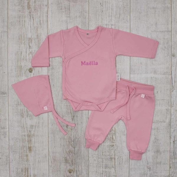 """Coffret les """"Basiques"""" - Ensemble body, pantalon et bonnet bébé, rose"""