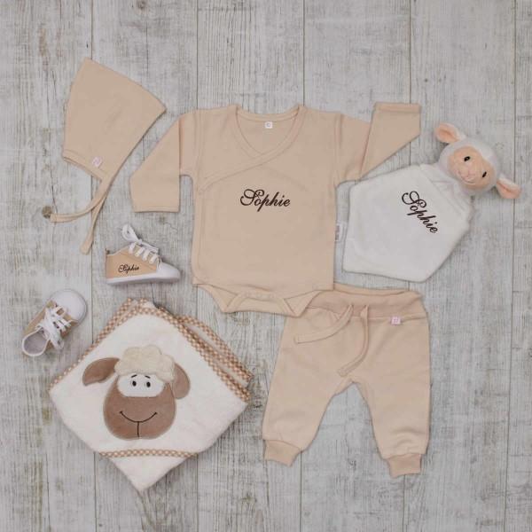 Baby-Set«Luxus», Kleidung, Babyschuhe, Schmusetuch & Kapuzentuch, Cremeweiss