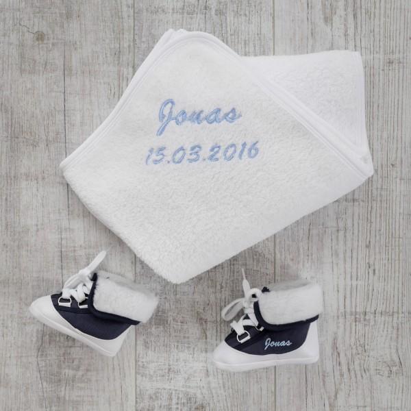 Babystiefel & Decke, Marineblau