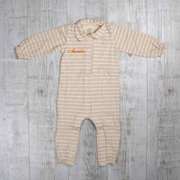 Pyjama mit Kragen, vintage Streifen