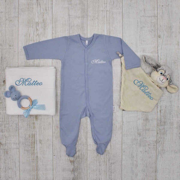 Complet Babyset - Crazy about bunnies, blue