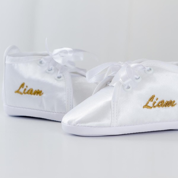 Satin Shoes, White with Icon