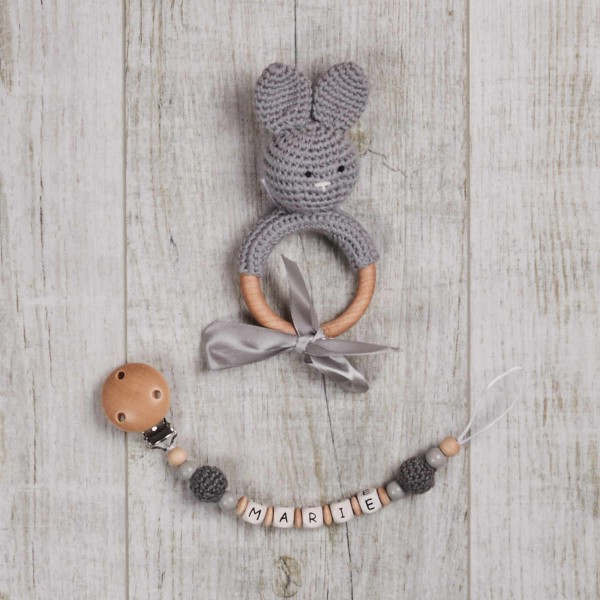 Pacifier Chain And Crochet Bunny, Grey