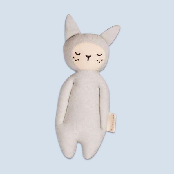 Hochet bébé - lapin, gris clair