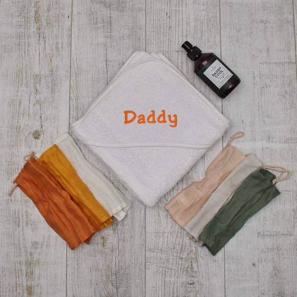 Daddy Cool Set with Hooded Towel White, Washcloth and Soap
