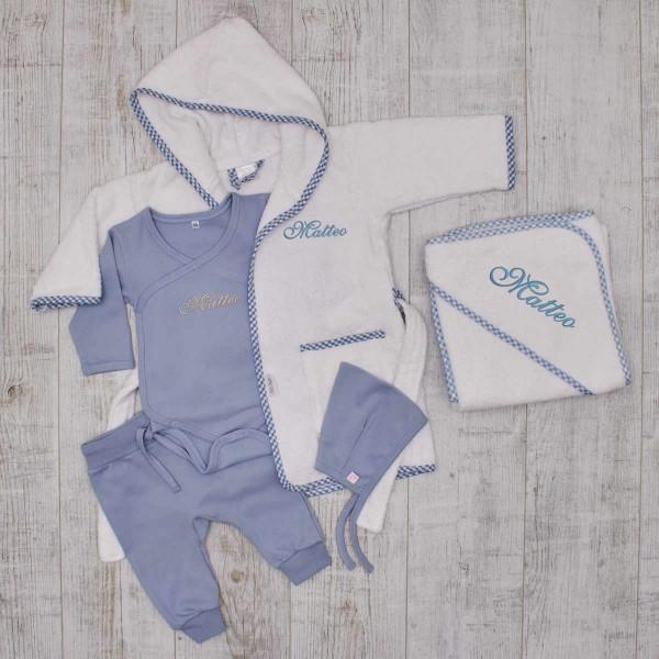 Komplettes Baby-Set, Kleidung, Bademantel & Kapuzentuch, Blau