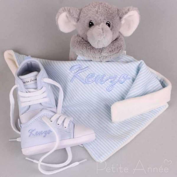 Elefant Schmusetuch & blaue Babyschuhe