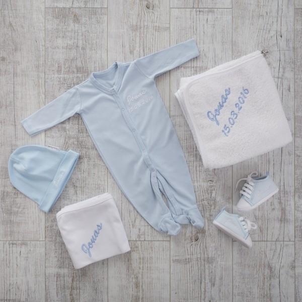 Strampler Set mit Mütze und Decken, Blau