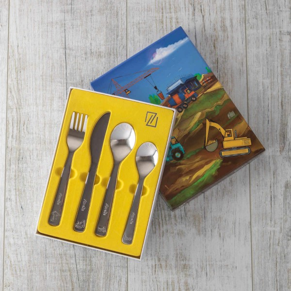 Four-piece children's cutlery set, 'construction vehicles'