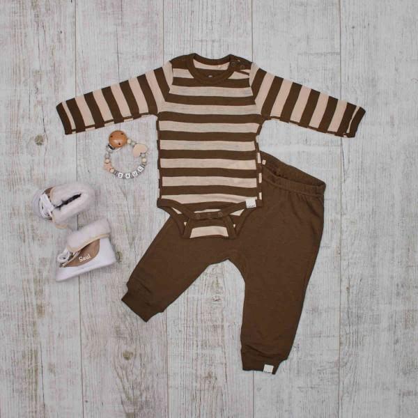 Warm Merino Baby-Set mit Nuggikette & Winterstiefel, Blockstreifen Olivegrün