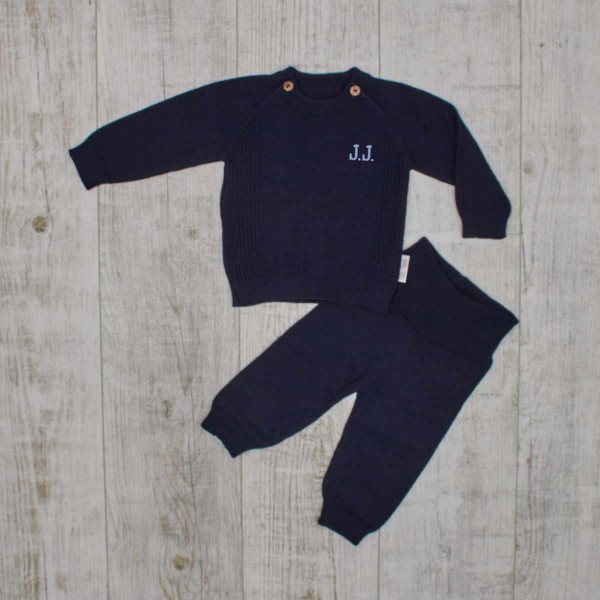 "Baby-Strickset ""Basics"", Strickpullover & Hose, Navy"