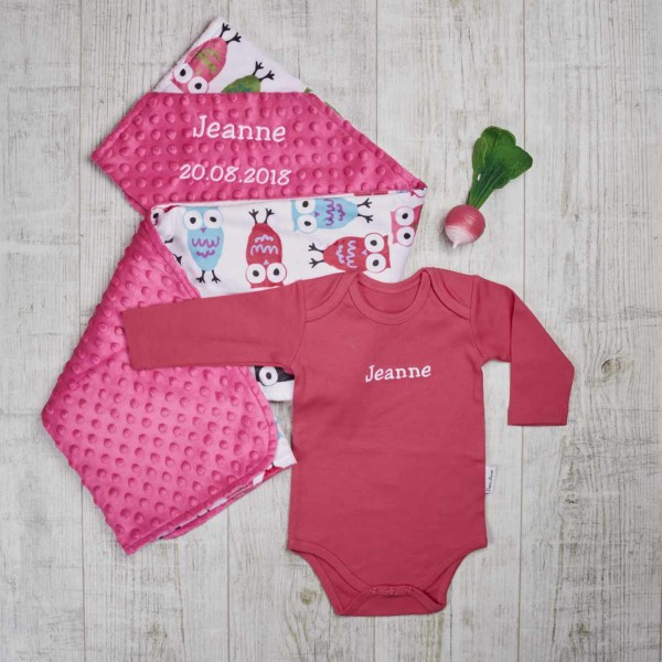 Colored set with long sleeve body, minky blanket & bite toy, fuchsia