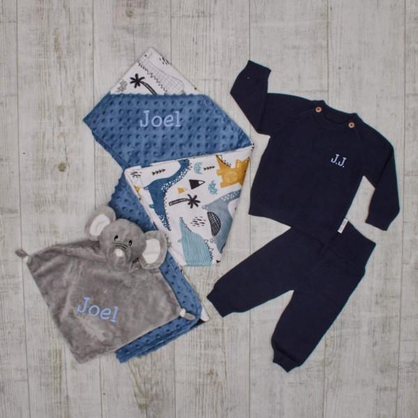 """Essentials"" knitted set - Dino, blue"