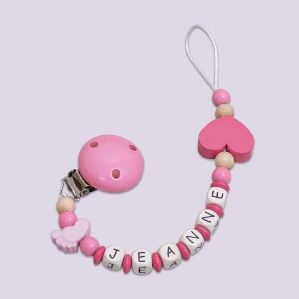 Nuggikette aus Holz mit Füsschen und Herz, rosa