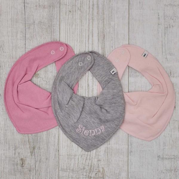 Bavoirs 3 pièces, rose - gris