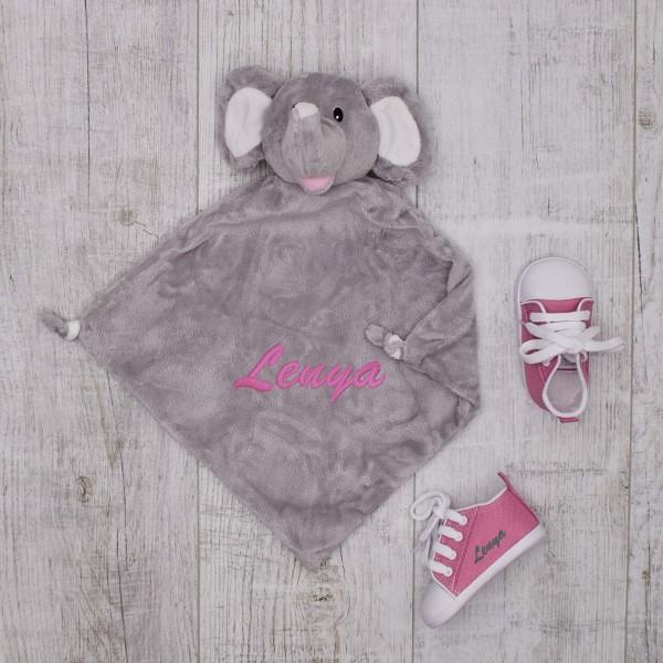 Schmusetuch & Babyschuhe, Elefant & Pink