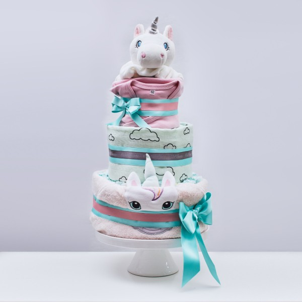 Diaper Cake Large, bath time - Unicorn, pink