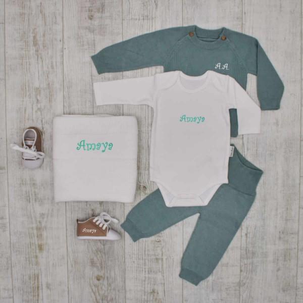 """Coffret tricot """"Luxe"""" - couverture, ensemble et chaussures, menthe"""