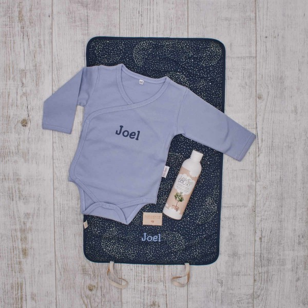 Organic and natural baby nappy changing set, blue