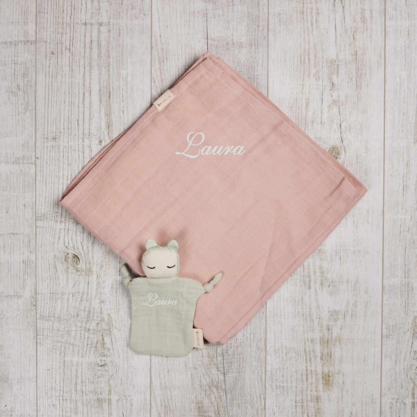 Organic XL swaddle rose and little ragdoll mint