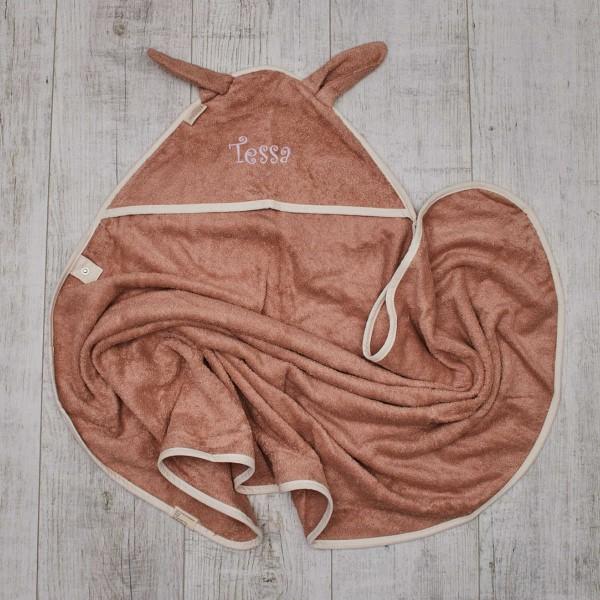 Hooded towel bunny, big, rose