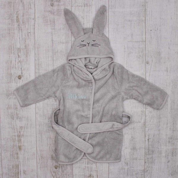 Bathrobe bunny, organic - grey