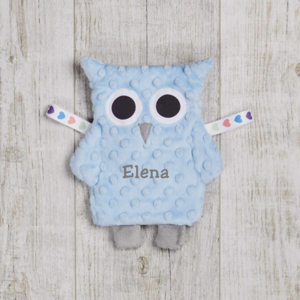 Crinkle Cloth OWL, light blue
