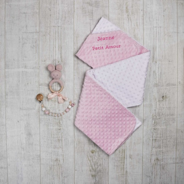 Set - Blanket, dummy chain & teething toy 'rabbit', Pink
