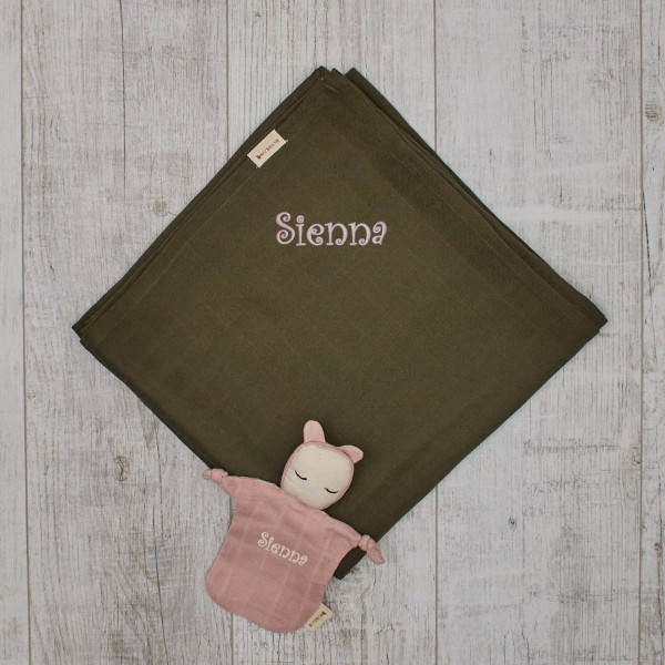 Organic XL swaddle olive red and little ragdoll rose