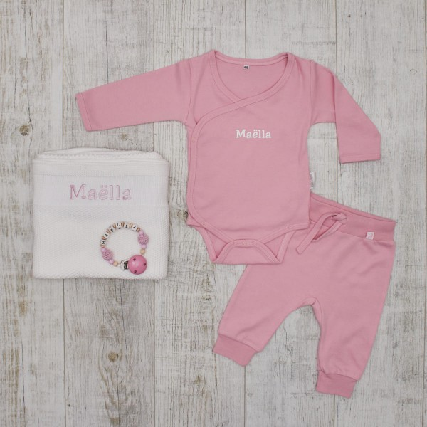 Complet authentic Babyset, grey & pink