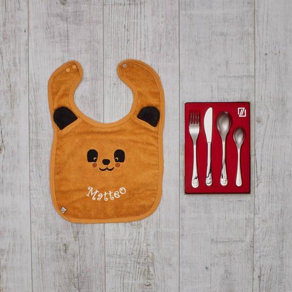 Kinderbesteck 'Wusel Und Pip' & Lätzchen Panda Set