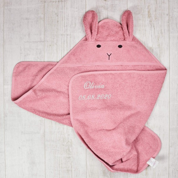 Hooded towel, Bunny, Pink