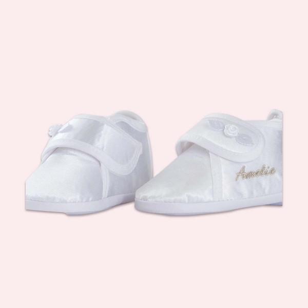 Chaussures en satin pour fille, blanc avec motif