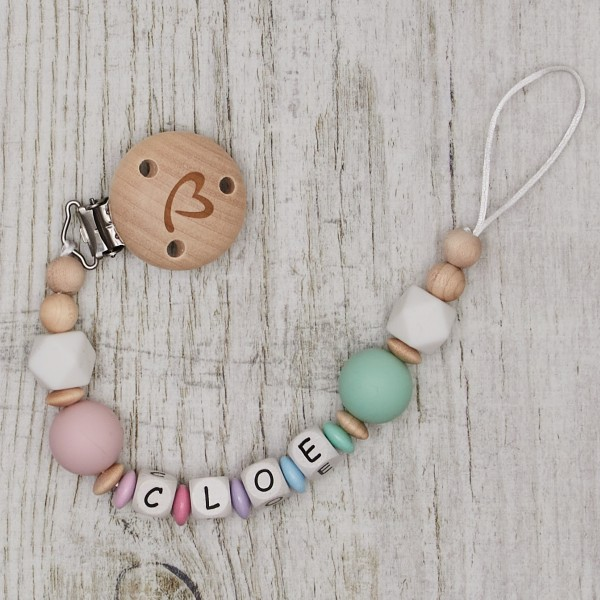 Dummy chain made of silicone and wood rainbow, pink